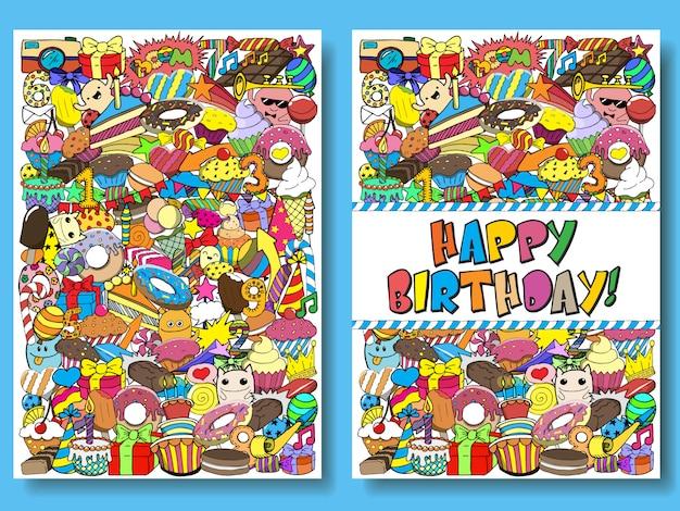 De verjaardagspartij van groetkaarten met snoepjeskrabbels Premium Vector