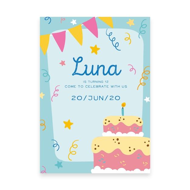 De verjaardagsuitnodiging van kinderen met cake Gratis Vector