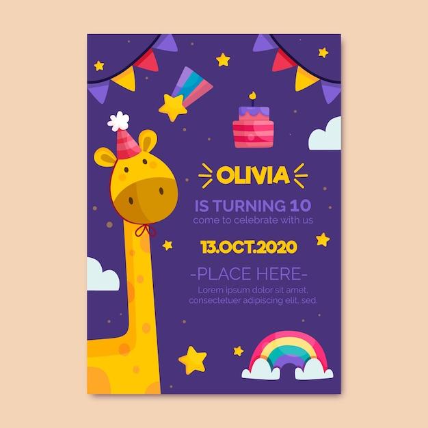 De verjaardagsuitnodiging van kinderen met girafsjabloon Gratis Vector