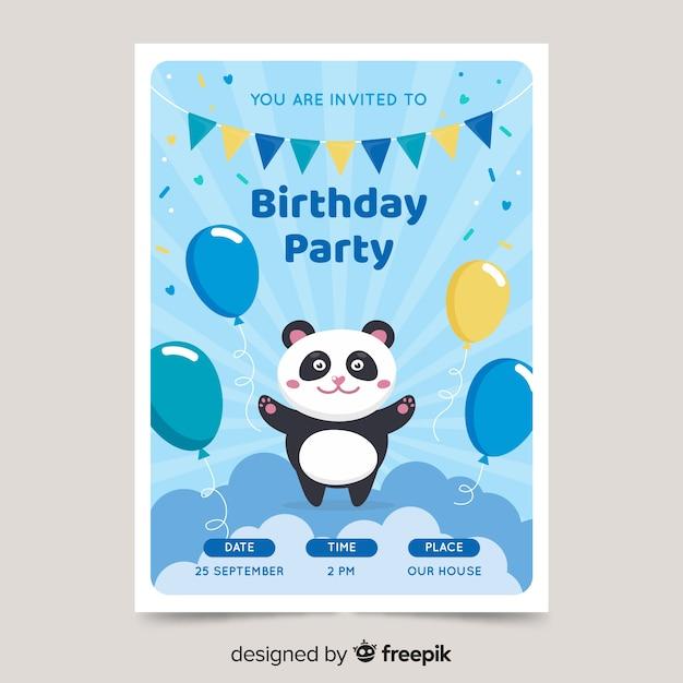 De verjaardagsuitnodigingsmalplaatje van leuke kinderen met panda Gratis Vector