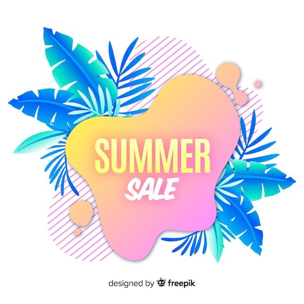 De verkoop vloeibare vormen van de zomer en tropische bladerenachtergrond Gratis Vector