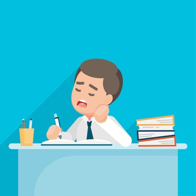 De vermoeide zakenman voelt gedeprimeerd en bored met administratie op kantoor, vectorkarakterillustratie. Premium Vector