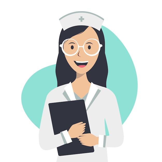 De verpleegster heeft een medisch dossier en glimlacht op een witte achtergrond Premium Vector