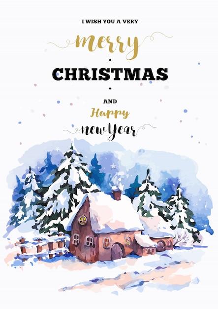 De verticale het kaderkaart van kerstmis met de winterlandschap begroet Premium Vector