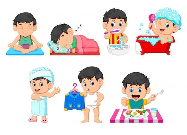 De verzameling van de jongen die de dagelijkse activiteiten uitvoert Premium Vector