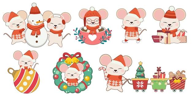 De verzameling van schattige muis in kerstthema set. het karakter van schattige muis met vrienden en kerst elementen in platte vector stijl. Premium Vector