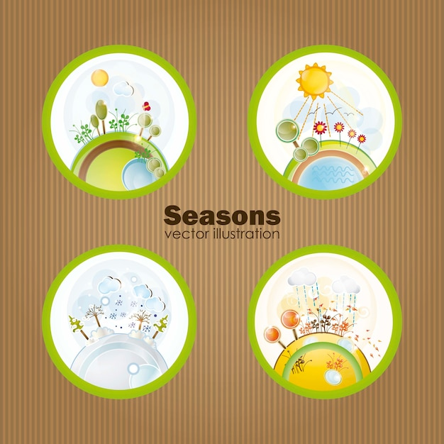 De vier seizoenen in retro ballen vectorillustratie Premium Vector