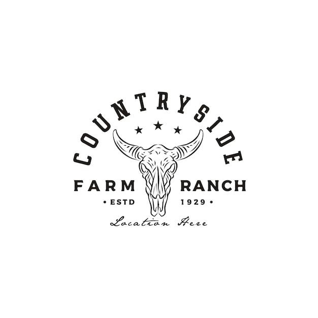 De vintage retro koe van longhorn bull buffalo voor het westelijke embleemontwerp van het land van de boerderij van het boerderij van het platteland Premium Vector