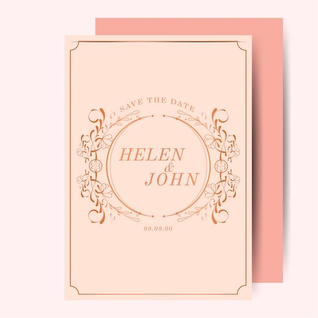 De vintage roze gouden uitnodiging van het jugendstilhuwelijk Gratis Vector