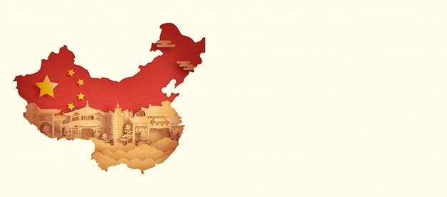 De vlag van china met kunming, china in papier gesneden stijl vectorillustratie Premium Vector