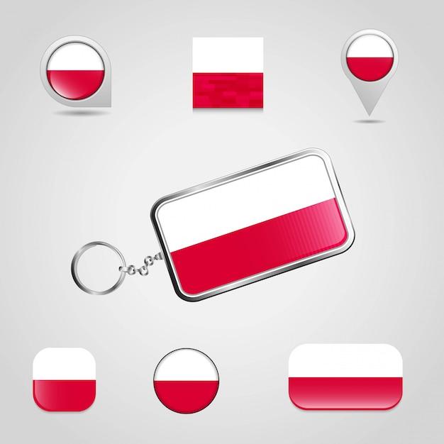 De vlag van het land van polen op keychain en kaartspeld verschillende stijl Premium Vector
