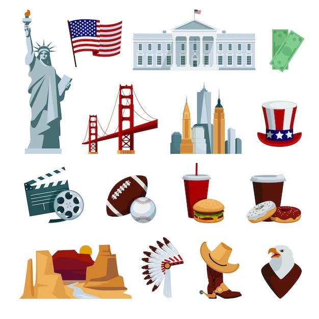De vlakke die pictogrammen van de vs met amerikaanse nationale symbolen en aantrekkelijkheden worden geplaatst Gratis Vector