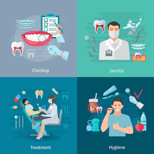 De vlakke kleurentanden geven concepten vierkante samenstelling van medische de hulpmiddelenbehandeling van de controletandarts en hygiëne geïsoleerde vectorillustratie Gratis Vector