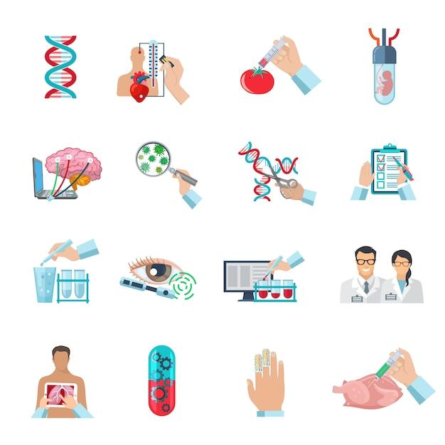 De vlakke reeks van kleuren wetenschappelijke pictogrammen van biotechnologie genetische techniek en nanotechnologie geïsoleerde vectorillustratie Gratis Vector