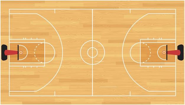De vloer van het basketbalhof met hardhouttextuur. illustratie. Premium Vector
