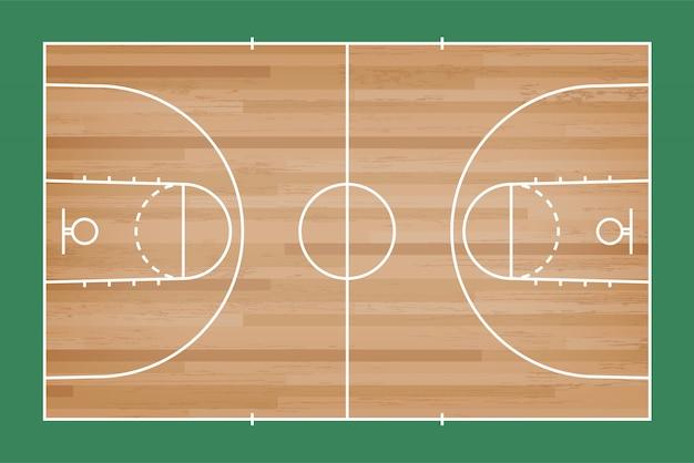 De vloer van het basketbalhof met lijn op houten patroonachtergrond. Premium Vector