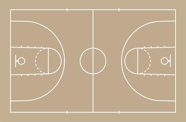 De vloer van het basketbalhof met lijn voor achtergrond Premium Vector