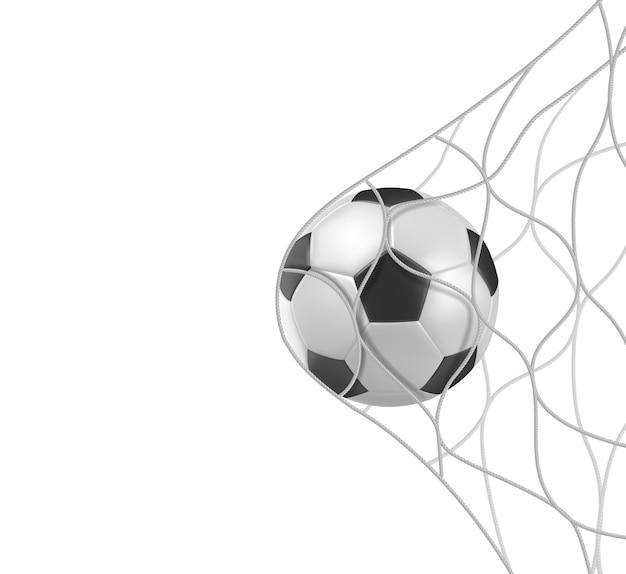 De voetbalbal van het voetbal in netto doel dat op wit wordt geïsoleerd Gratis Vector
