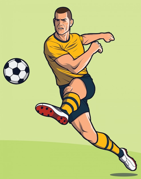 De voetbalspeler schopt bal / voetbalster schoppen bal Premium Vector