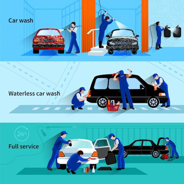De volledige onderhoudsautowasserette met bediendensteam die voertuig 3 vlakke geïsoleerde banners abstracte vector schoonmaken Gratis Vector