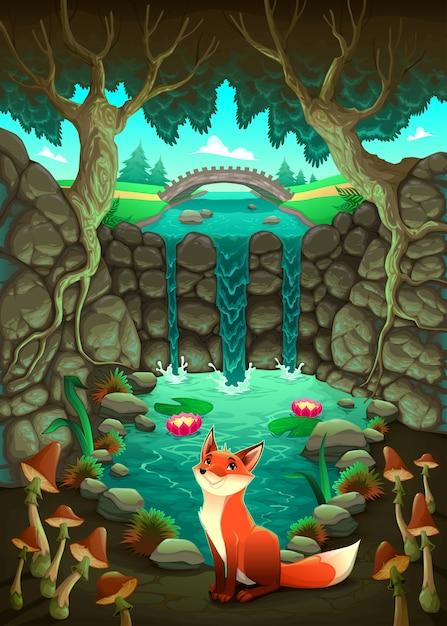 De vos in de buurt van een vijver grappig cartoon en vector illustratie Gratis Vector