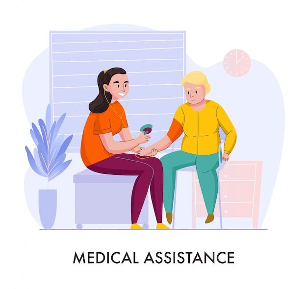 De vrijwillige hulp vlakke samenstelling van de kinderdagverblijf medische hulp met glimlachende jonge dame die bejaarde vectorillustratie voeden Gratis Vector