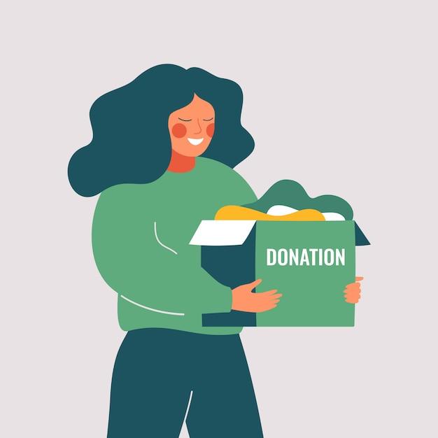 De vrijwilligersvrouw houdt schenkingsdoos met oude gebruikte kleren klaar om worden geschonken of gerecycleerd. sociale zorg en liefdadigheidsconcept. vector illustratie Premium Vector