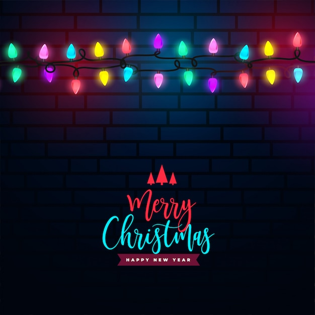 De vrolijke achtergrond van de kerstmis kleurrijke lichte decoratie Gratis Vector