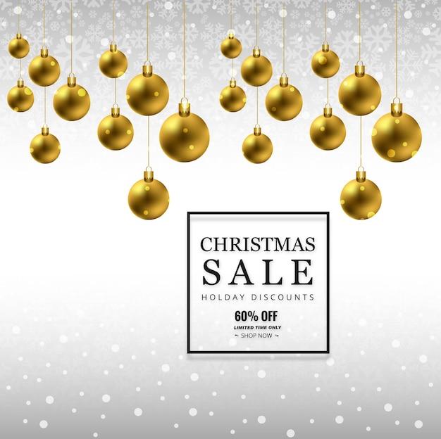 De vrolijke achtergrond van de kerstmisverkoop met van de kerstmisbal vector als achtergrond Premium Vector