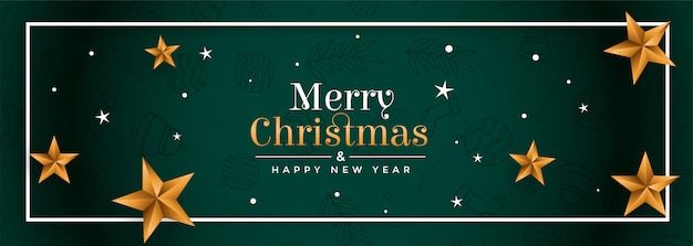 De vrolijke banner van het kerstmis groene festival met gouden sterren Gratis Vector