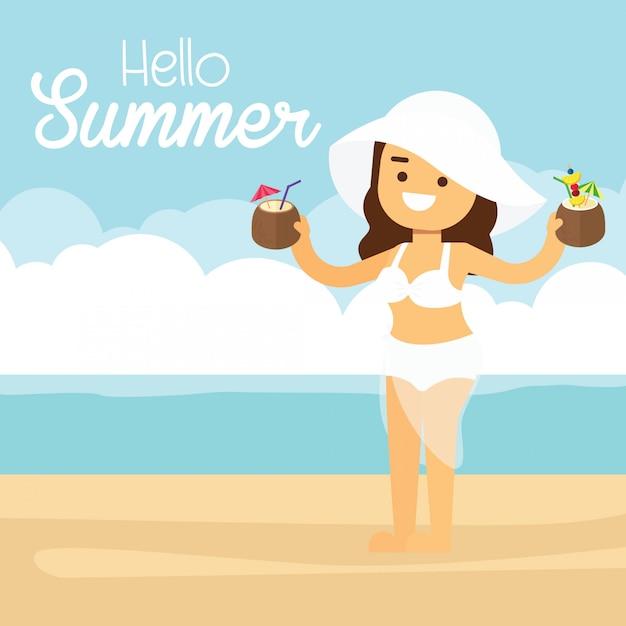De vrouw gaat in de zomervakantie reizen, vrouw bij de zomerstrand op vakantievakanties met cocktails Premium Vector