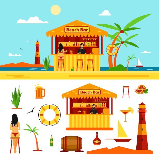 De vrouw in bikini zit in bar op een strand. zomervakantie concept. vectorillustratie in vlakke stijl. Premium Vector