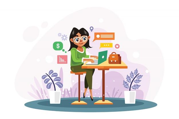 De vrouw werkt met laptop vectorillustratie Premium Vector