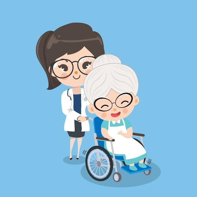De vrouwelijke arts behandelt oude vrouwenpatiënten met rolstoelen door betere symptomen. Premium Vector