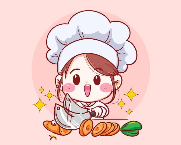 De vrouwelijke chef-kok sneed wortel het plantaardige koken in keukenbeeldverhaal Premium Vector