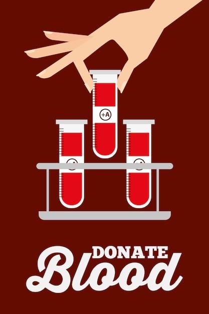 De vrouwelijke hand met reageerbuizen op rek schenkt bloed Premium Vector