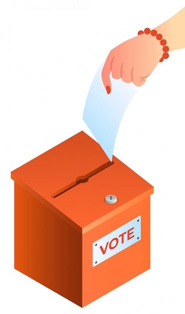 De vrouwenhand zet stemming in het stembusconcept Premium Vector