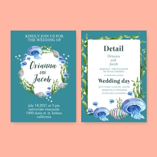 De waterverf van de huwelijksuitnodiging met sealife-thema, blauwe pastelkleurillustratie als achtergrond Gratis Vector