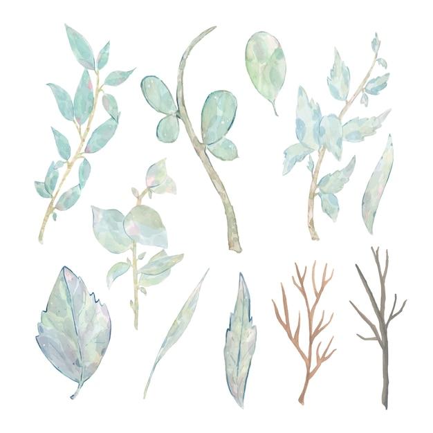 De waterverfhand schilderde groene die bladerentak op wit wordt geïsoleerd Gratis Vector