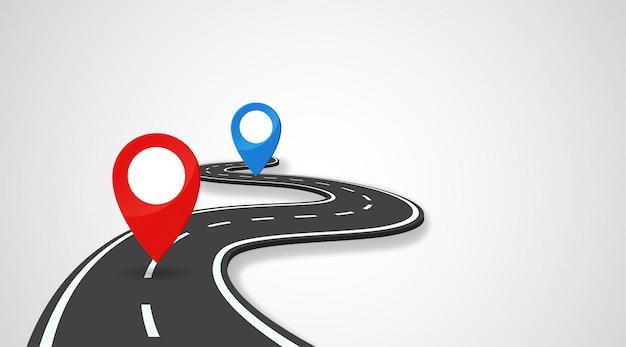 De weg met gps-pin geeft het begin en het einde van de reis aan. Premium Vector