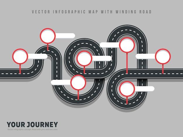 De weg vectorkaart van de navigatie windende weg infographic op grijs Premium Vector