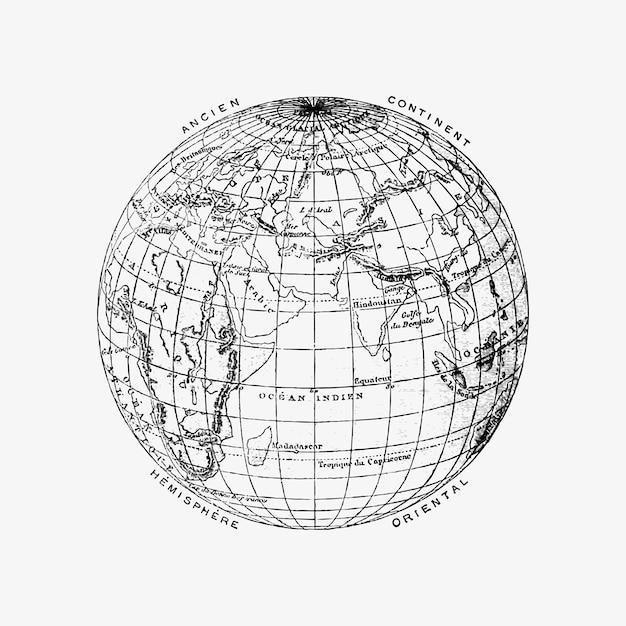 De wereldbol vintage tekening Gratis Vector