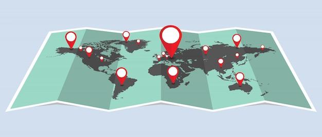 De wereldkaart van punten met speldenillustratie. punten die de locatie op de kaart aangeven Premium Vector