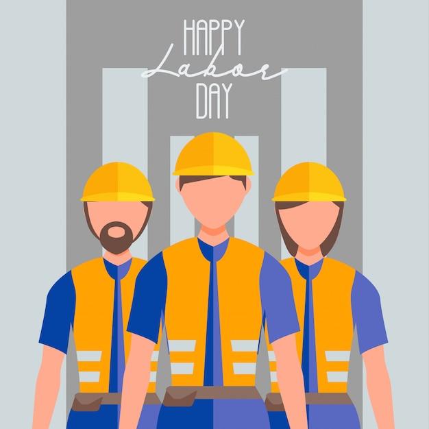 De werkdag van gelukkige werknemer Premium Vector