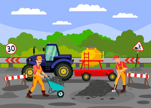 De werken van de wegreparatie op weg vectorillustratie Premium Vector