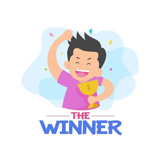 De winnaar met karaktervector Premium Vector