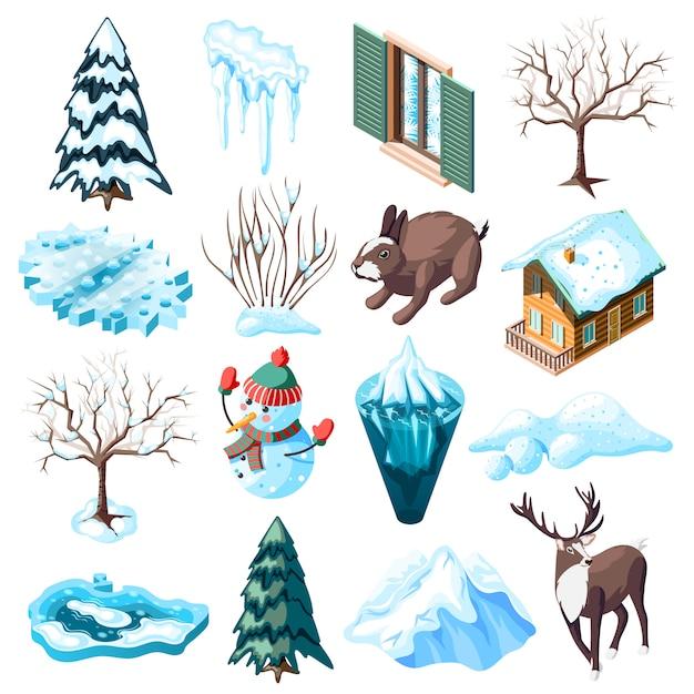 De winter het modelleren reeks isometrische pictogrammen met dieren naakte bomen en struiken bevroren geïsoleerd meer Gratis Vector