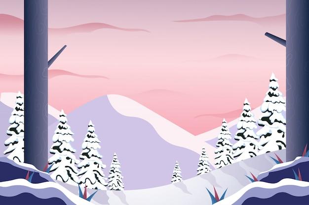 De winterlandschap van de landschapsberg met roze hemelillustratie Premium Vector