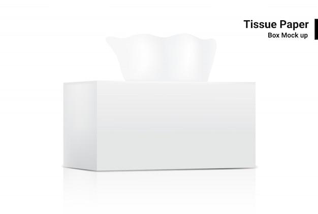 De witte weefseldoos bespot realistische productverpakking op witte vectorillustratie als achtergrond Premium Vector