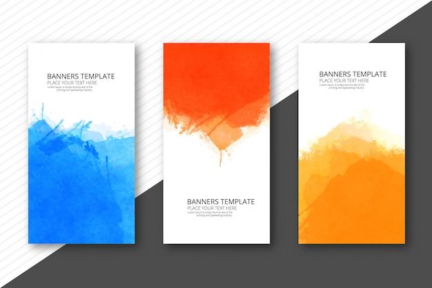 De zachte banners van het waterverf kleurrijke malplaatje geplaatst vectorontwerp Gratis Vector